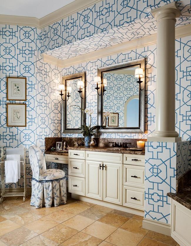 Những mẫu giấy dán tường nhà tắm chẳng thể chê vào đâu được - Ảnh 9.