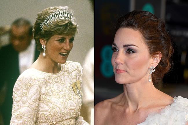 Công nương Kate đeo bông tai của mẹ chồng quá cố.