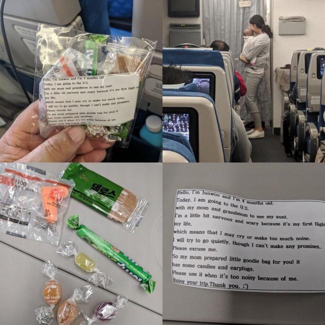 Cho con 4 tháng tuổi đi máy bay, bà mẹ gửi kẹo và bịt tai cho 200 hành khách nhưng đáng chú ý là tờ giấy đính kèm - Ảnh 2.