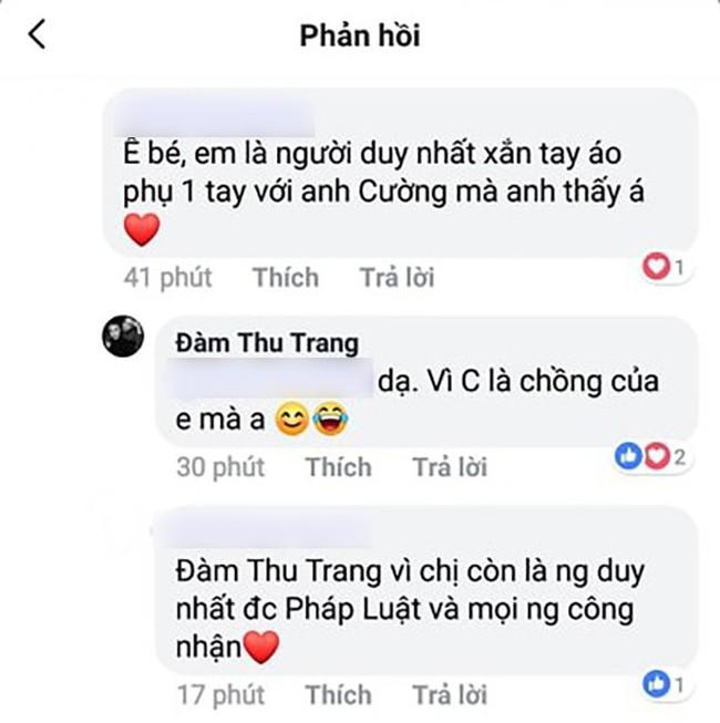 Được khen là người duy nhất xắn tay phụ giúp Cường Đô La, câu trả lời của Đàm Thu Trang khiến ai cũng ngưỡng mộ - Ảnh 1.