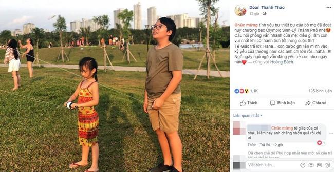 Con trai Hoàng Bách giành HCB Olympic Thành phố, nhưng câu trả lời ngây ngô của cậu bé khi đoạt giải mới thật gây cười - Ảnh 1.