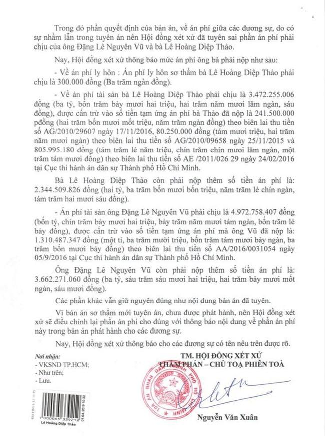 TAND thông báo đính chính vụ đọc nhầm án phí từ 8 tỷ lên 80 tỷ trong phiên tòa ly hôn nghìn tỷ Trung Nguyên - Ảnh 1.