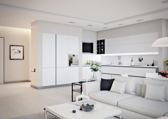 Mẫu căn hộ đẹp có phòng khách liền kề nhà bếp - Ảnh 1.