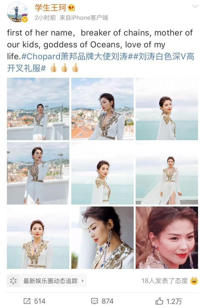 Cuồng vợ như chồng Lưu Đào: Like 171 bài liên quan đến việc vợ xuất hiện tại Cannes - Ảnh 4.