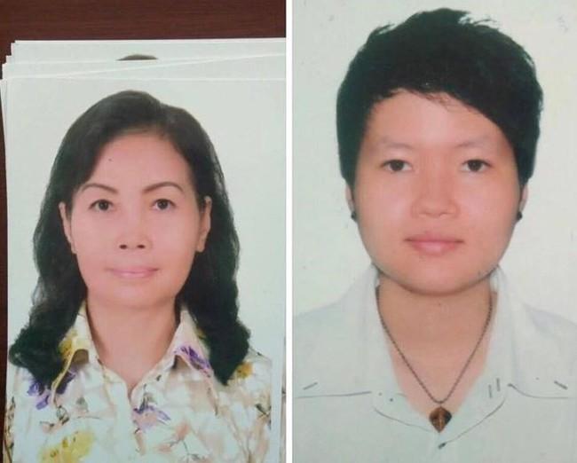 Hai người vụ nữ nghi liên quan đến vụ án. (Hồng Hoa bên trái và Thiên Hà bên phải).