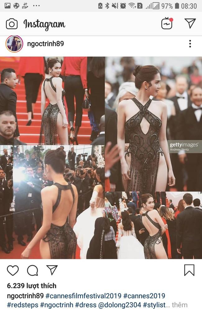 Mặc dư luận ì xèo, Ngọc Trinh tự tin đăng loạt ảnh hở không chừa chỗ nào trên thảm đỏ Cannes lên trang cá nhân - Ảnh 1.