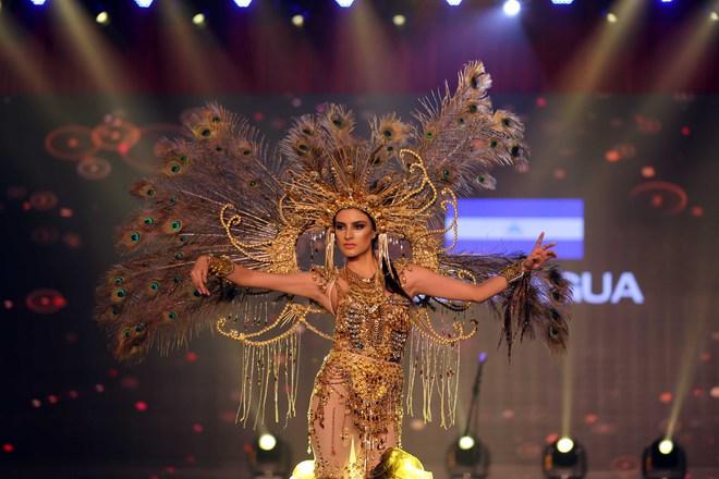 Á hậu Huyền My mặc áo dài nặng 30kg đẹp nổi bật lấn át dàn thí sinh trong đêm thi trang phục dân tộc - ảnh 8