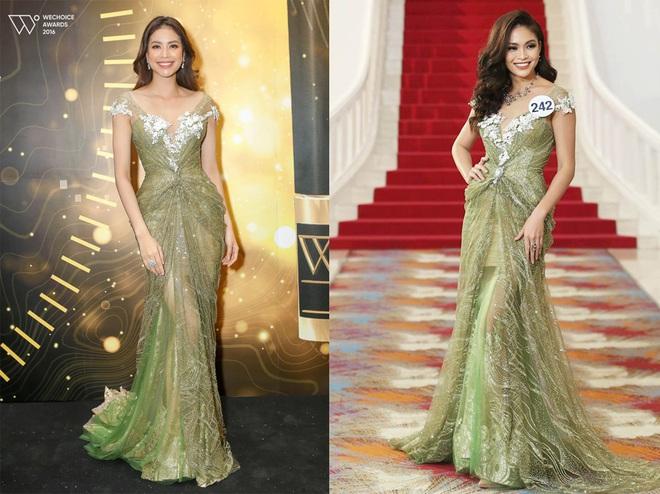 Mâu Thủy đụng ai không đụng lại chọn đúng Phạm Hương để đụng hàng váy dạ hội khi trình diễn tại HHHV 2017 - Ảnh 2.