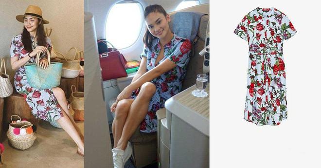 Ngay cả HHHV Thế giới Pia cũng lùi bước trước Tăng Thanh Hà khi cả hai diện chung một mẫu váy của Zara - Ảnh 5.