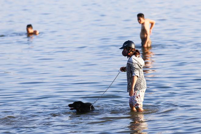 Nắng nóng đỉnh điểm, chủ mặc kín như ninja lội nước, chó cưng vùng vẫy ở Hồ Tây - Ảnh 6.