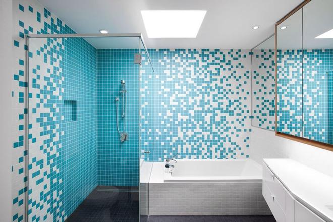 Thổi bay cảm giác oi bức ngày hè với phòng tắm xanh – trắng mát lịm - Ảnh 3.