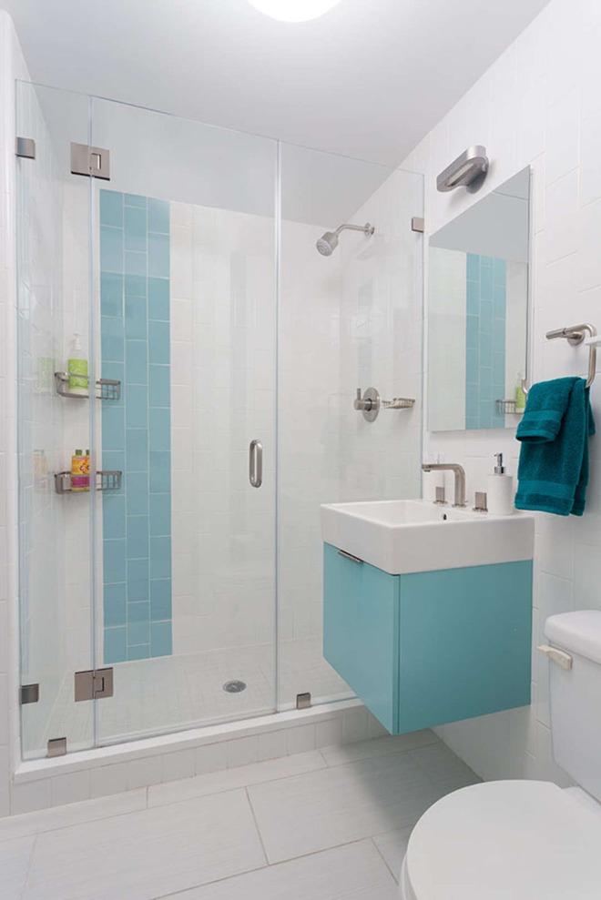 Thổi bay cảm giác oi bức ngày hè với phòng tắm xanh – trắng mát lịm - Ảnh 4.