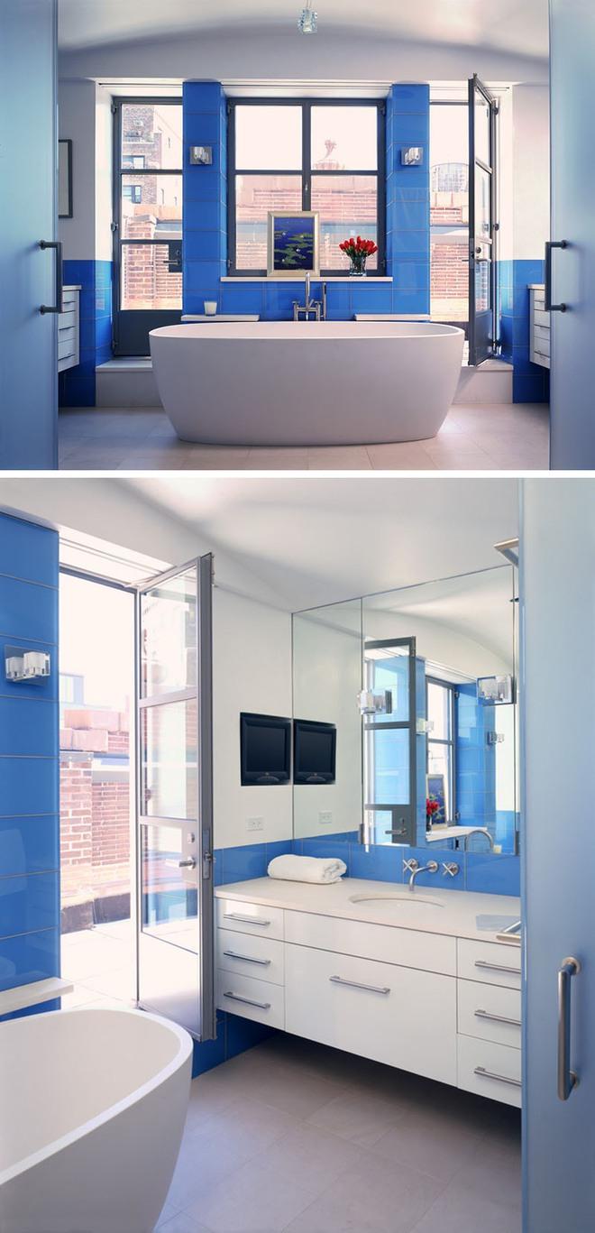 Thổi bay cảm giác oi bức ngày hè với phòng tắm xanh – trắng mát lịm - Ảnh 7.