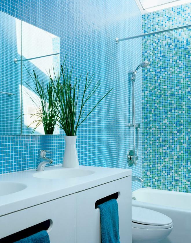 Thổi bay cảm giác oi bức ngày hè với phòng tắm xanh – trắng mát lịm - Ảnh 10.