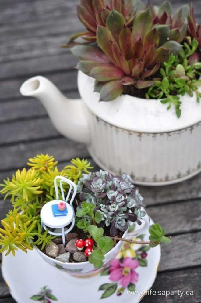 12 cách biến tấu tách trà uống nước thành đồ vật trang trí nhà đẹp mắt - Ảnh 6.