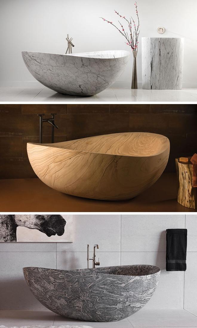 Chẳng thể nào cưỡng nổi sức lôi cuốn đầy mê hoặc của những mẫu bồn tắm bằng đá này - Ảnh 1.