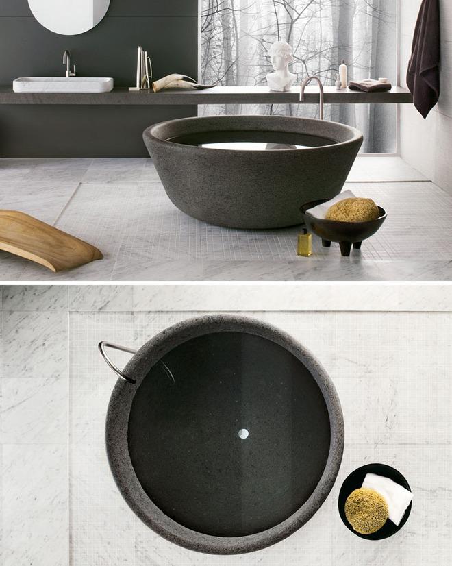 Chẳng thể nào cưỡng nổi sức lôi cuốn đầy mê hoặc của những mẫu bồn tắm bằng đá này - Ảnh 2.