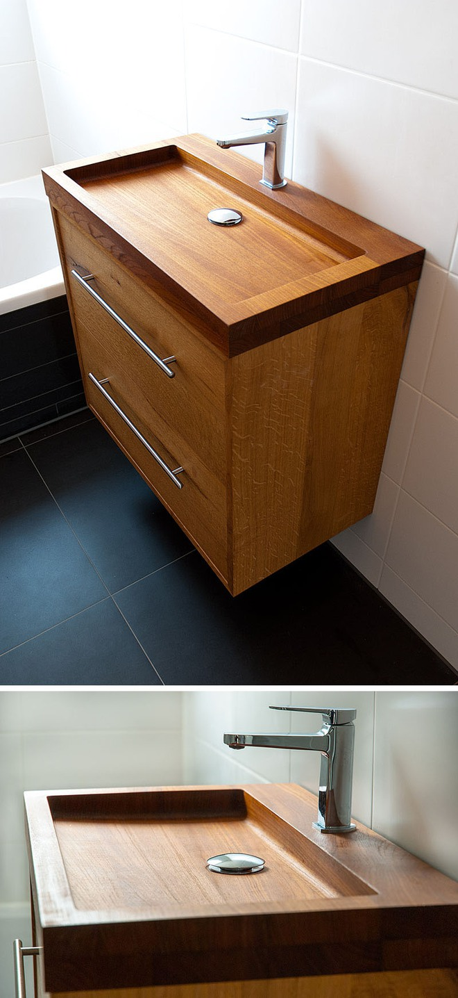 Chẳng cần nhiều, một chiếc bồn rửa tay bằng gỗ cũng đủ mang nét tự nhiên ngập tràn phòng tắm - Ảnh 7.