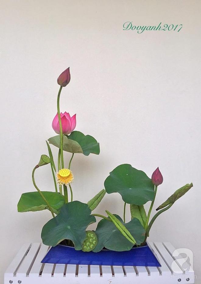 Những cách cắm hoa sen khiến vạn người mê của hai ông bố trẻ - Ảnh 8.