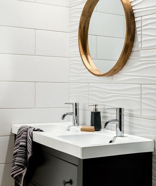 Phòng tắm trở nên sang chảnh bất ngờ với bức tường sử dụng gạch ốp 3D - Ảnh 1.
