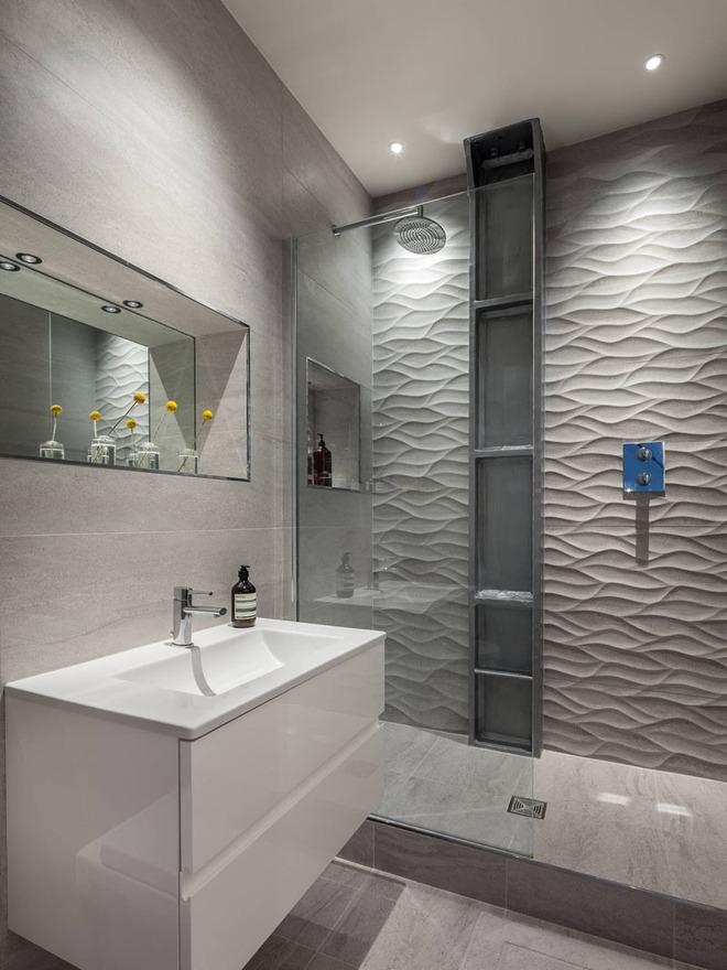 Phòng tắm trở nên sang chảnh bất ngờ với bức tường sử dụng gạch ốp 3D - Ảnh 5.