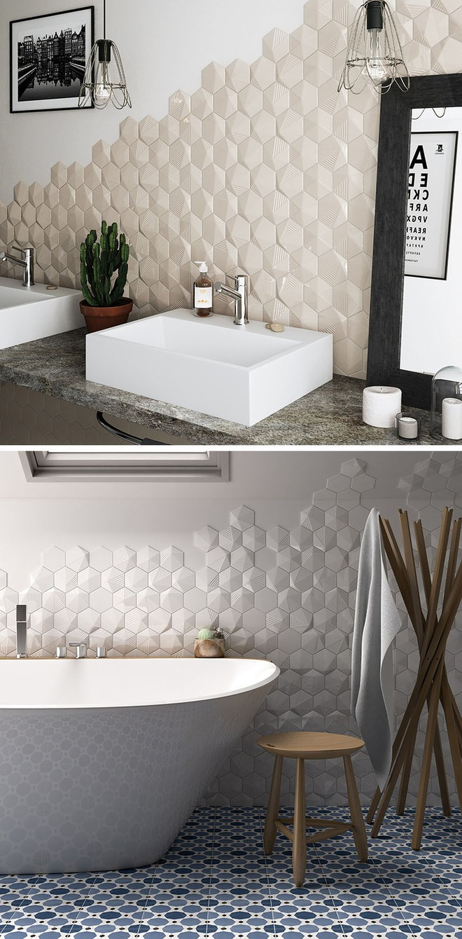 Phòng tắm trở nên sang chảnh bất ngờ với bức tường sử dụng gạch ốp 3D - Ảnh 6.