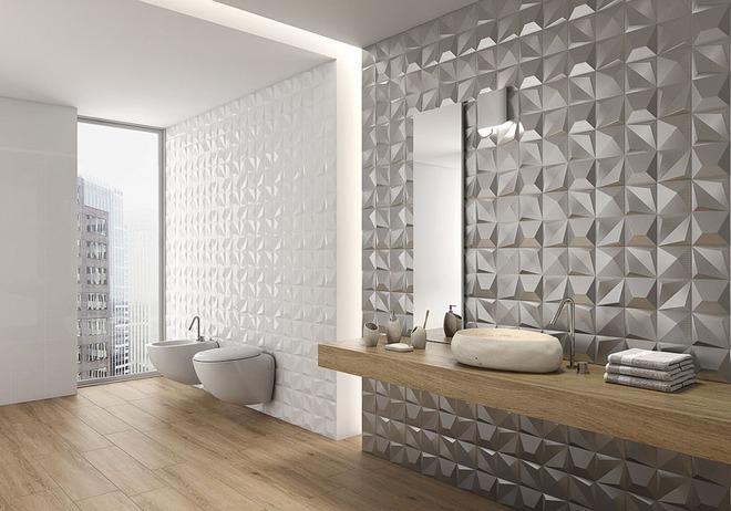 Phòng tắm trở nên sang chảnh bất ngờ với bức tường sử dụng gạch ốp 3D - Ảnh 8.