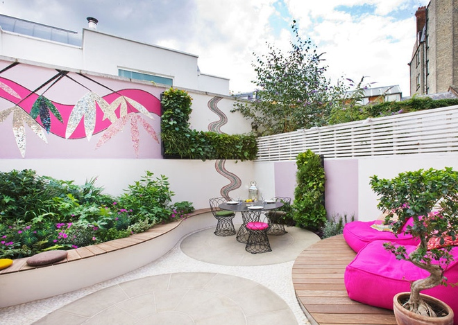 Thiết kế mảnh sân sau thành góc thư giãn đẹp mê mẩn với điểm nhấn lãng mạn từ màu hồng - Ảnh 4.