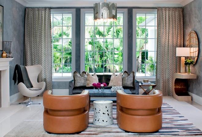 Gợi ý 20 kiểu ghế da màu nâu trang trí phòng khách không bao giờ lỗi mốt - Ảnh 8.