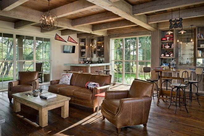 Gợi ý 20 kiểu ghế da màu nâu trang trí phòng khách không bao giờ lỗi mốt - Ảnh 19.