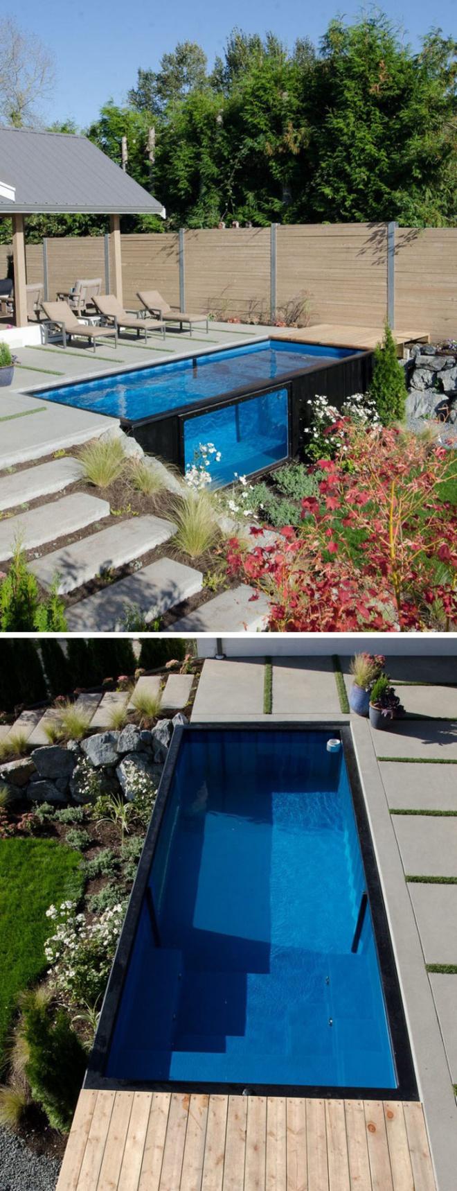 Bể bơi container nhỏ gọn, đẹp tuyệt dành cho nhà có sân vườn nhỏ - Ảnh 1.