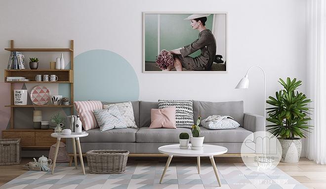 Cách phối gam màu pastel cho phòng khách mang phong cách Scandinavia chuẩn không cần chỉnh - Ảnh 1.