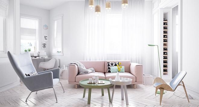 Cách phối gam màu pastel cho phòng khách mang phong cách Scandinavia chuẩn không cần chỉnh - Ảnh 10.