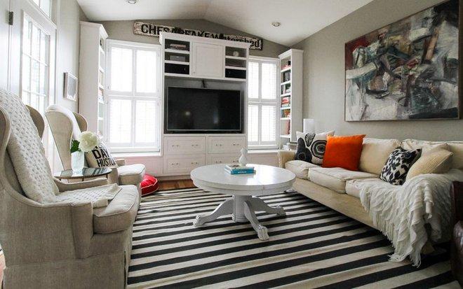 Chỉ với một tấm thảm kẻ sọc đen trắng, phòng khách sẽ vô cùng kỳ diệu thế này - Ảnh 3.