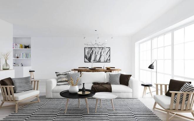 Chỉ với một tấm thảm kẻ sọc đen trắng, phòng khách sẽ vô cùng kỳ diệu thế này - Ảnh 6.