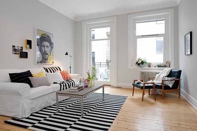 Chỉ với một tấm thảm kẻ sọc đen trắng, phòng khách sẽ vô cùng kỳ diệu thế này - Ảnh 7.
