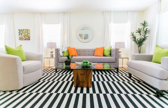 Chỉ với một tấm thảm kẻ sọc đen trắng, phòng khách sẽ vô cùng kỳ diệu thế này - Ảnh 10.