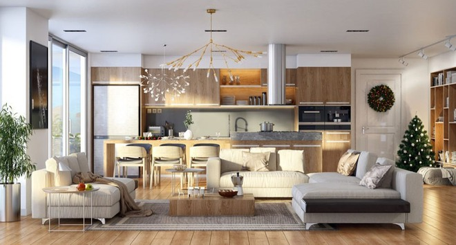 Những mẫu phòng khách liền nhà ăn giúp bạn chẳng cần lo về diện tích - Ảnh 6.