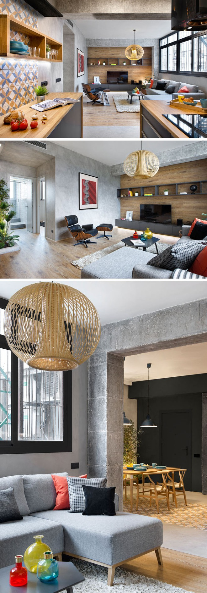 Chiêm ngưỡng căn hộ đầy lôi cuốn nhờ sự kết hợp ấn tượng của bê tông, gỗ, gạch ốp và màu đen - Ảnh 4.