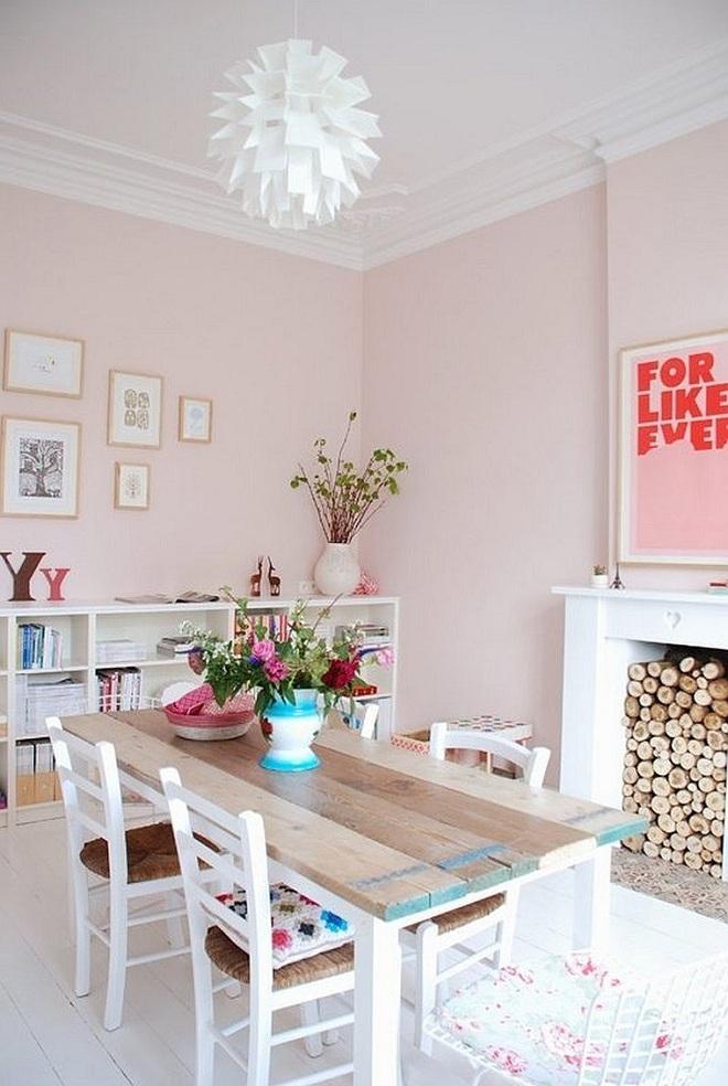 Gợi ý trang trí nhà với gam màu hồng nhạt dịu dàng - Ảnh 8.
