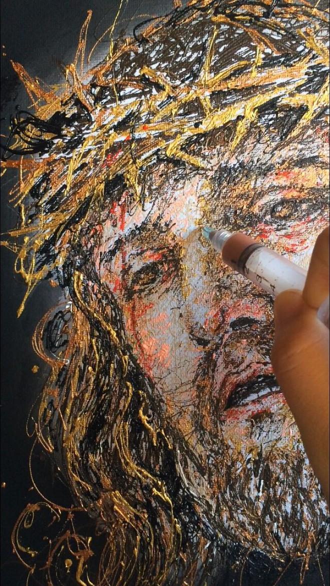 Độc đáo những bức tranh được vẽ bằng bơm kim tiêm - Ảnh 4.