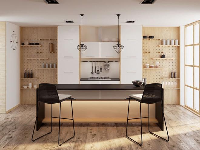 Sơn trắng toàn bộ không gian kết hợp nội thất gỗ - màu công thức cho một căn bếp nhỏ tinh tế và hiện đại - Ảnh 13.