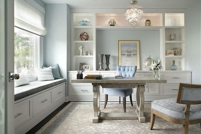 Phòng làm việc đẹp dịu dàng và bình yên với gam màu pastel khiến ai nhìn cũng yêu - Ảnh 1.