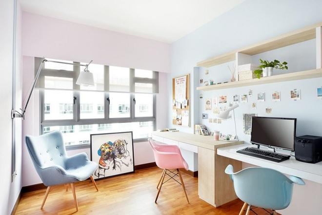 Phòng làm việc đẹp dịu dàng và bình yên với gam màu pastel khiến ai nhìn cũng yêu - Ảnh 2.