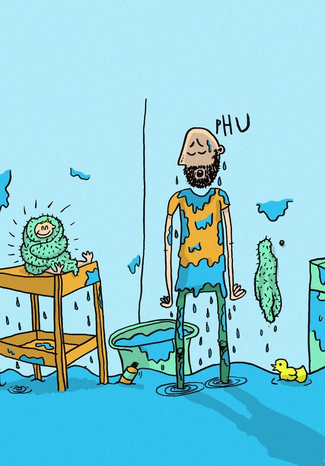 Ông bố dũng cảm phác họa lại những tình huống hài hước khi ở nhà chăm con - Ảnh 2.
