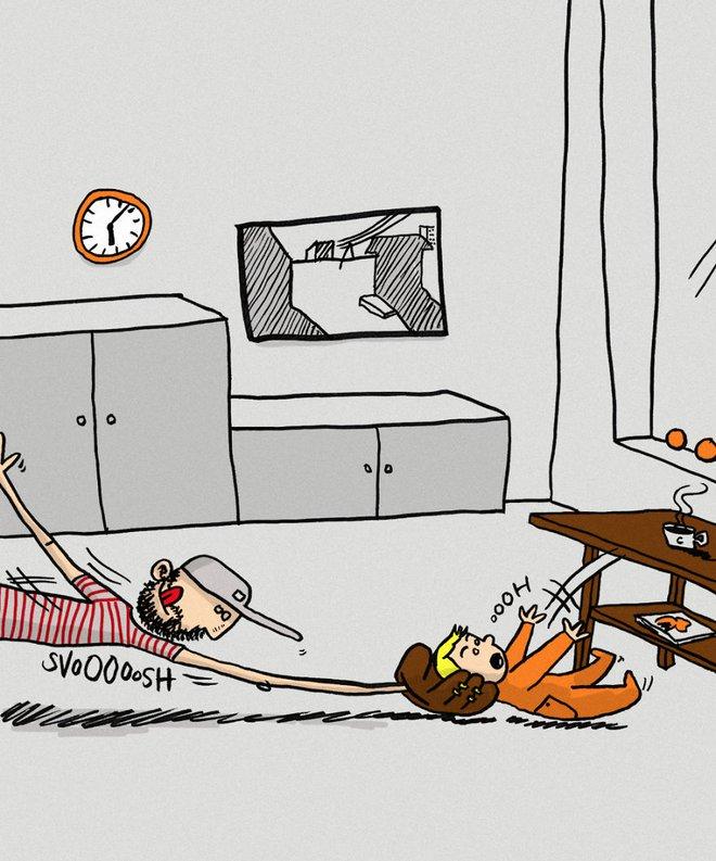 Ông bố dũng cảm phác họa lại những tình huống hài hước khi ở nhà chăm con - Ảnh 4.