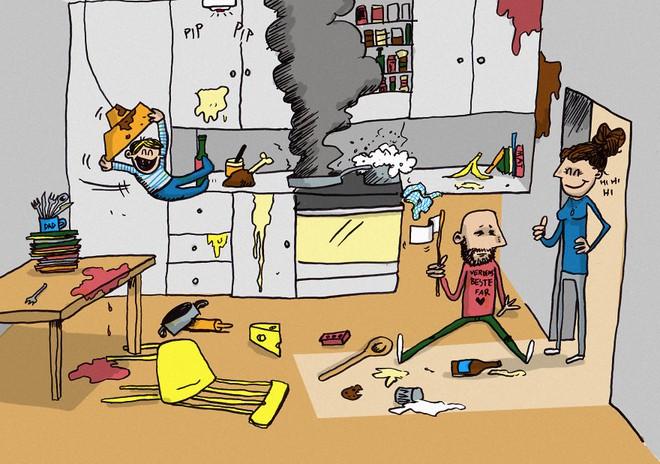 Ông bố dũng cảm phác họa lại những tình huống hài hước khi ở nhà chăm con - Ảnh 5.