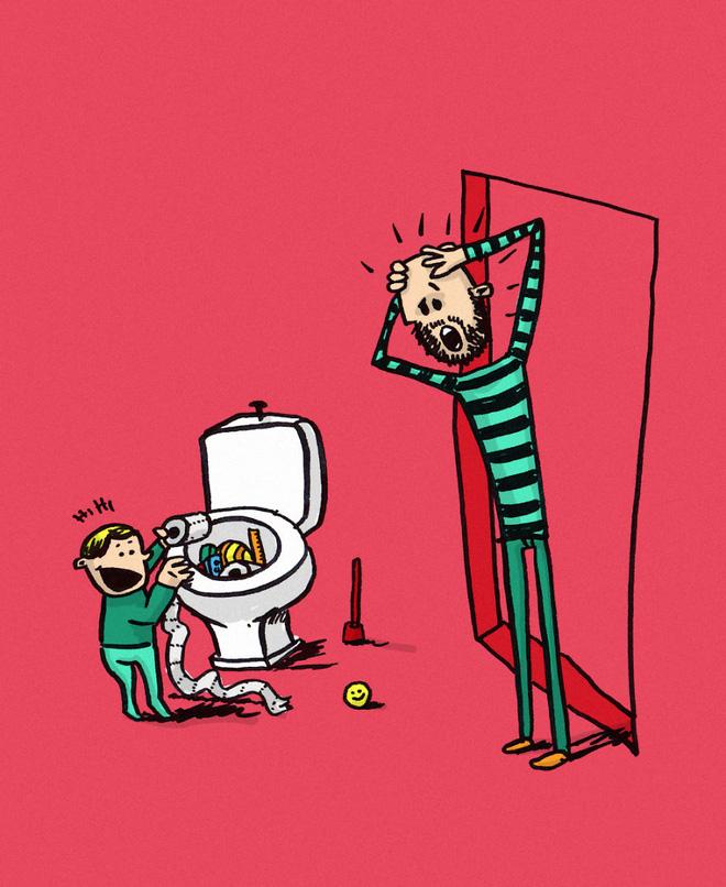 Ông bố dũng cảm phác họa lại những tình huống hài hước khi ở nhà chăm con - Ảnh 7.