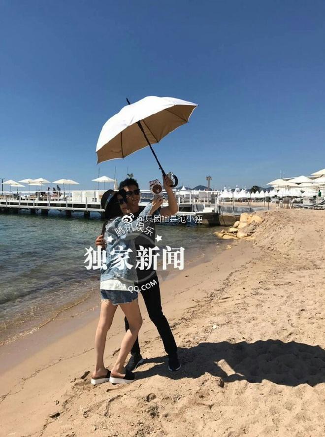Lộ clip Phạm Băng Băng - Lý Thần nắm tay nô đùa tình tứ trên bãi biển - Ảnh 4.