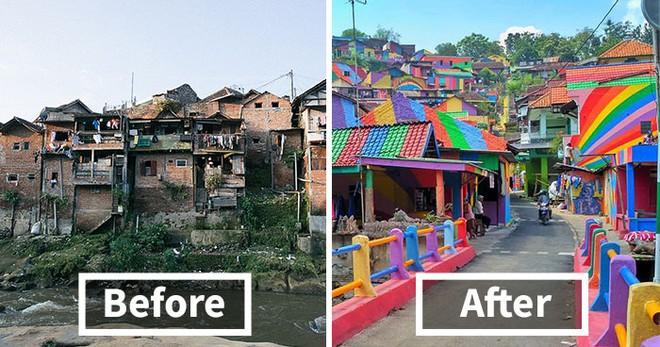 Ngôi làng như khu ổ chuột bỗng hóa thành cầu vồng chốn trần gian vì ý tưởng vô cùng độc đáo - Ảnh 1.